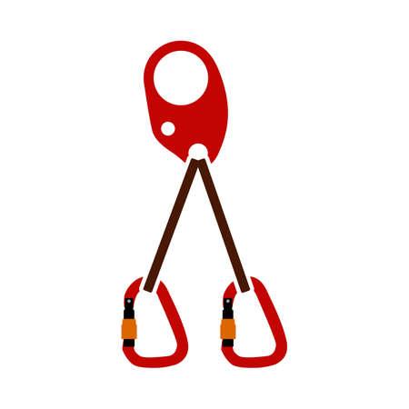 Alpinist Self Rescue System Icon. Flat Color Design. Vector Illustration.