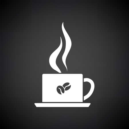 Smoking Cofee Cup Icon. White on Black Background. Vector Illustration. 矢量图像