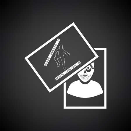 Photograph Evidence Icon. White on Black Background. Vector Illustration.