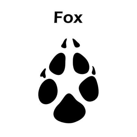 Fox Footprint. Black Silhouette Design. Vector Illustration.