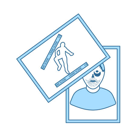 Photograph Evidence Icon. Thin Line With Blue Fill Design. Vector Illustration.