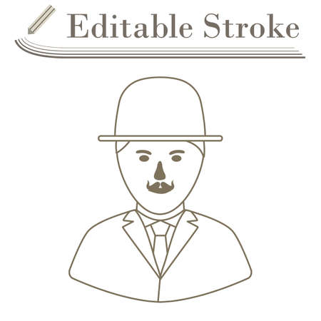 Detective Icon. Editable Stroke Simple Design. Vector Illustration.