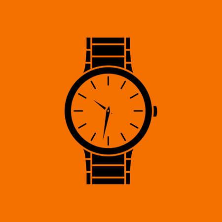 Business Woman Watch Icon. Black on Orange Background. Vector Illustration.