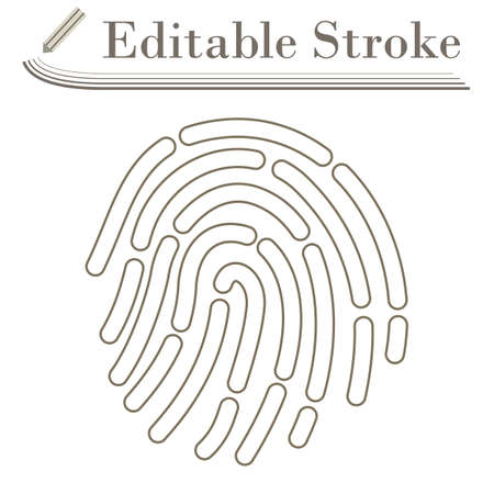 Fingerprint Icon. Editable Stroke Simple Design. Vector Illustration.