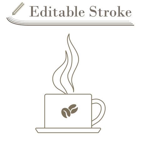 Smoking Cofee Cup Icon. Editable Stroke Simple Design. Vector Illustration.