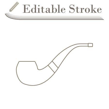 Smoking Pipe Icon. Editable Stroke Simple Design. Vector Illustration.