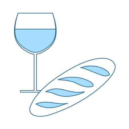 Easter Wine And Bread Icon. Thin Line With Blue Fill Design. Vector Illustration.