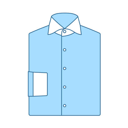 Folded Shirt Icon. Thin Line With Blue Fill Design. Vector Illustration.