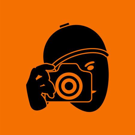 Detective With Camera Icon. Black on Orange Background. Vector Illustration.