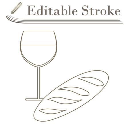 Easter Wine And Bread Icon. Editable Stroke Simple Design. Vector Illustration.