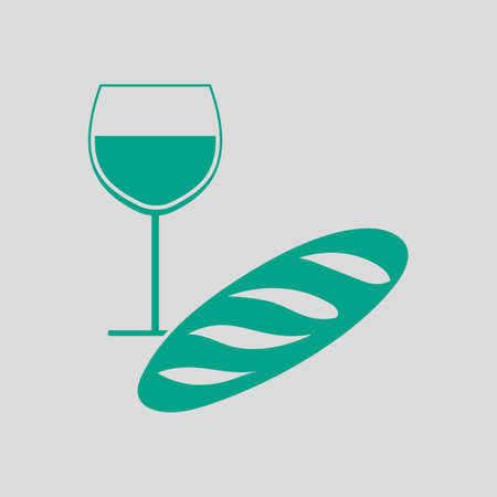 Easter Wine And Bread Icon. Green on Gray Background. Vector Illustration.