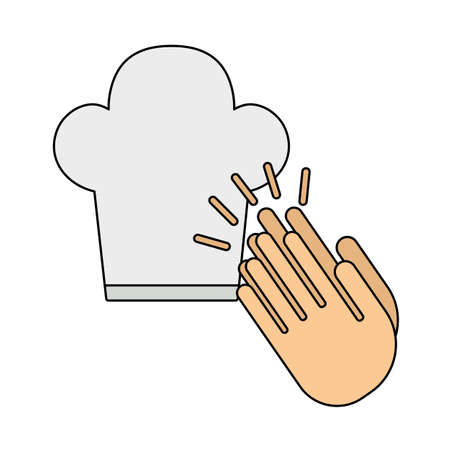 Clapping Palms To Toque Icon. Editable Outline With Color Fill Design. Vector Illustration.