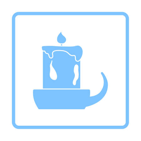 Candle In Candlestick Icon. Blue Frame Design. Vector Illustration.