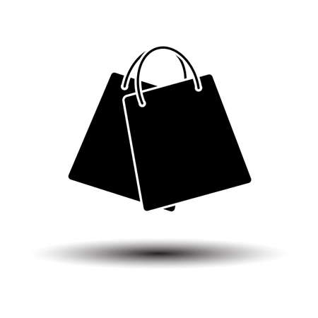 Two Shopping Bags Icon. Black on White Background With Shadow. Vector Illustration.