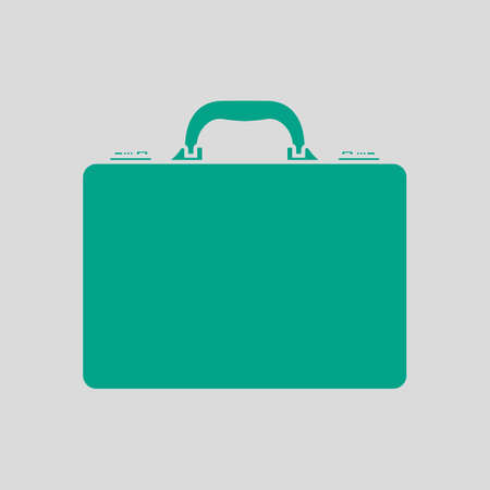 Business Briefcase Icon. Green on Gray Background. Vector Illustration.