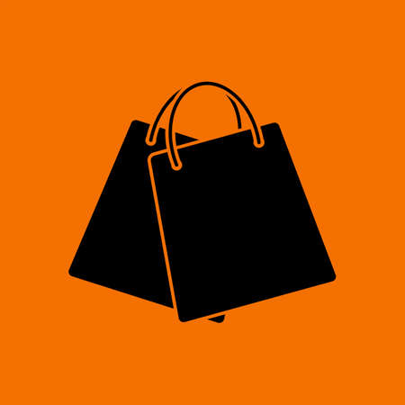 Two Shopping Bags Icon. Black on Orange Background. Vector Illustration. Иллюстрация