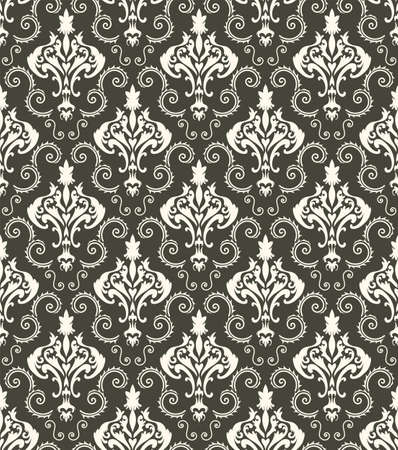 Damask Seamless Vector Pattern. Elegant Design in Royal Baroque Style Background Texture. Floral and Swirl Element. Ideal for Textile Print and Wallpapers. Vetores