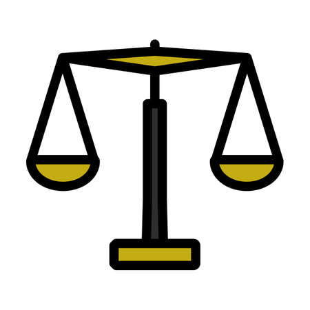 Justice Scale Icon. Editable Thick Outline With Color Fill Design. Vector Illustration.