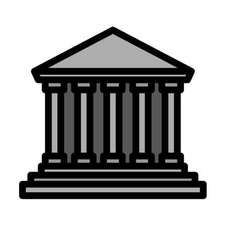 Courthouse Icon. Editable Thick Outline With Color Fill Design. Vector Illustration. Ilustración de vector