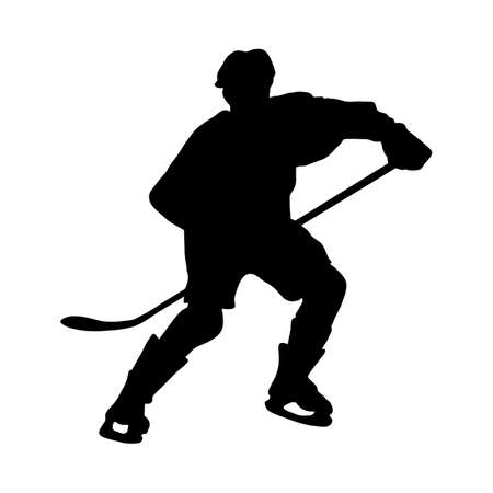 Hockey Player Silhouette. Smooth and Clean Lines. High Detailed Hockey Player Silhouette. Vector Illustration.