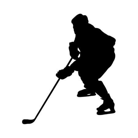 Hockey Player Silhouette. Smooth and Clean Lines. High Detailed Hockey Player Silhouette. Vector Illustration. Vektorové ilustrace
