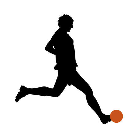 Soccer Player Silhouette. Smooth and Clean Design. Vector Illustration. Vetores