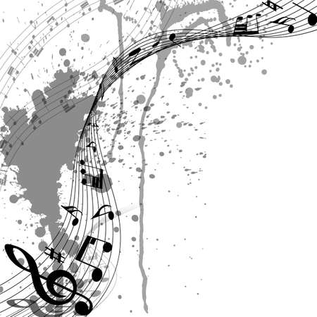 Musical Design From Music Staff Elements With Treble Clef And Notes On Trasparent Grunge Background With Copy Space. Shadow With Transparency; Elegant Creative Design Isolated on White. Vector Illustration.