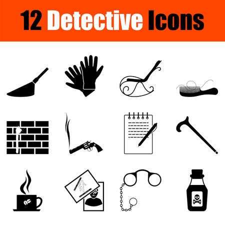 Detective Icon Set. Cute and Smooth Glyph Design. Fully editable vector illustration. Text expanded.