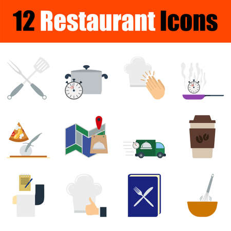 Restaurant Icon Set. Flat Design. Fully editable vector illustration. Text expanded.
