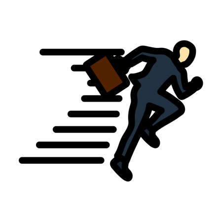 Icon Of Accelerating Businessman. Editable Bold Outline With Color Fill Design. Vector Illustration.