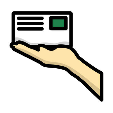 Icon Of Hand Holding Letter. Editable Bold Outline With Color Fill Design. Vector Illustration.