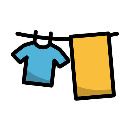 Drying Linen Icon. Editable Bold Outline With Color Fill Design. Vector Illustration. Vecteurs