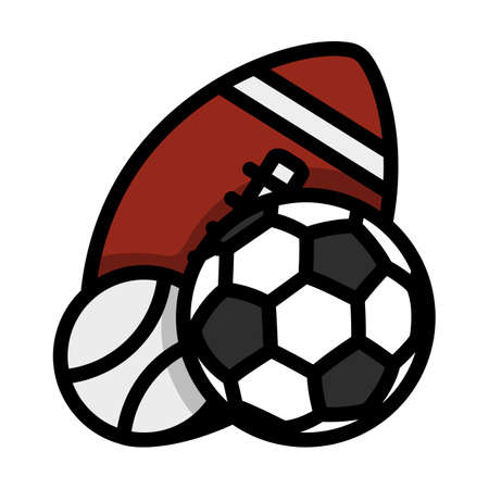 Sport Balls Icon. Editable Bold Outline With Color Fill Design. Vector Illustration.
