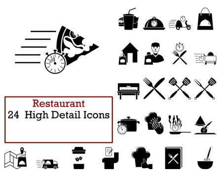 Restaurant Icon Set. Cute and Smooth Glyph Design. Fully editable vector illustration. Text expanded.