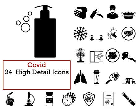 Covid Icon Set. Cute and Smooth Glyph Design. Fully editable vector illustration. Text expanded.