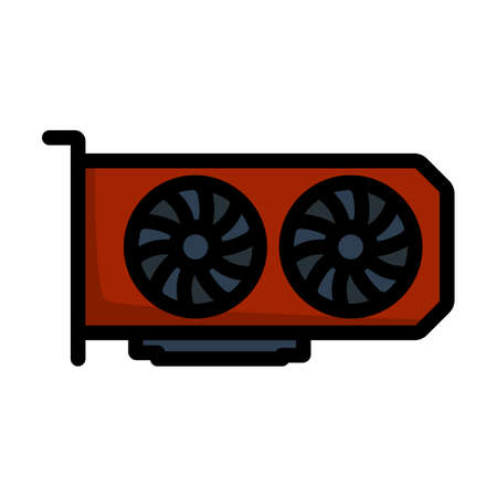 GPU Icon. Editable Bold Outline With Color Fill Design. Vector Illustration.