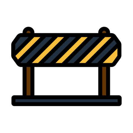 Icon Of Construction Fence. Editable Bold Outline With Color Fill Design. Vector Illustration.
