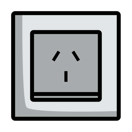 China Electrical Socket Icon. Editable Bold Outline With Color Fill Design. Vector Illustration.