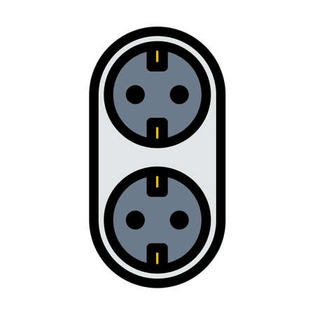 AC Splitter Icon. Editable Bold Outline With Color Fill Design. Vector Illustration.