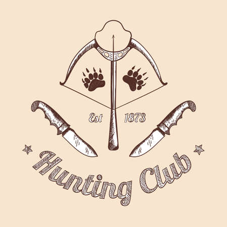 Hunting retro sketch design. Stretched bowstring of a crossbow with an arrow and hunting knives on both sides. Completed hunting vintage design. Vector Illustration. Vektoros illusztráció