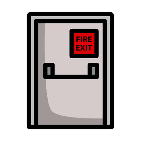 Fire Exit Door Icon. Editable Bold Outline With Color Fill Design. Vector Illustration.