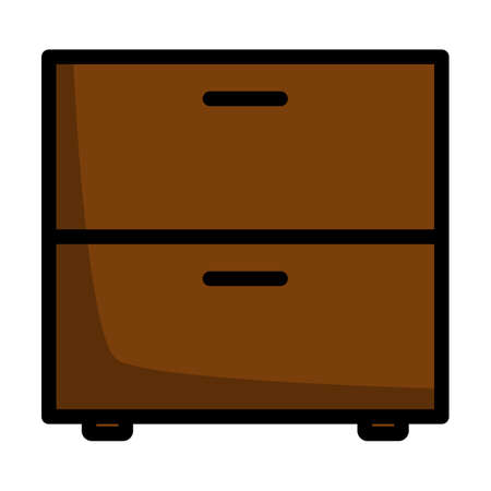 Bedroom Nightstand Icon. Editable Bold Outline With Color Fill Design. Vector Illustration.