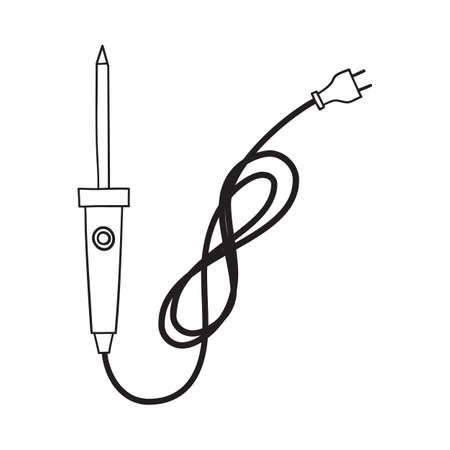 Soldering Iron Icon. Hand Drawn Sketch Design. Vector Illustration.