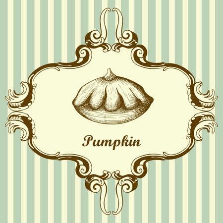 Bush Pumpkin Icon. Hand Drawn Sketch Design. Vector Illustration.