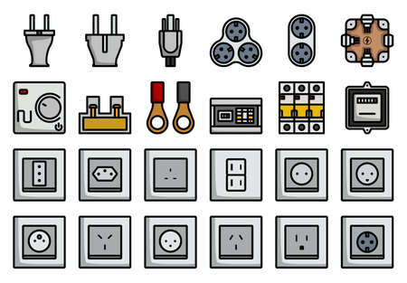 Electrics Icon Set. Editable Bold Outline With Color Fill Design. Vector Illustration. 矢量图片
