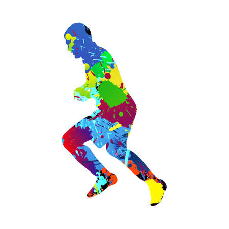 Soccer (football) player silhouette. Color grunge design with blob, blots and splash ink. Vector illustration.