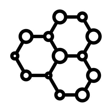 Icon Of Chemistry Hexa Connection. Editable Bold Outline Design. Vector Illustration.