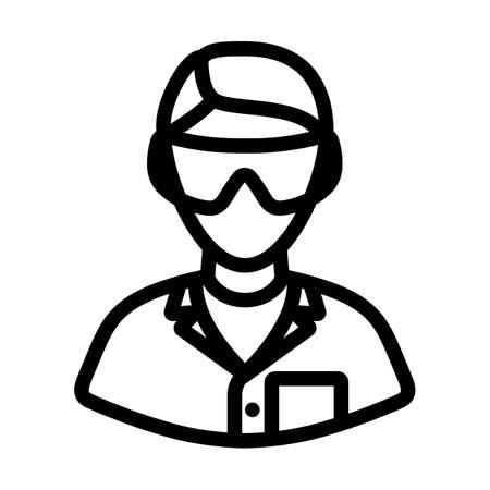 Icon Of Chemist In Eyewear. Editable Bold Outline Design. Vector Illustration. Ilustración de vector