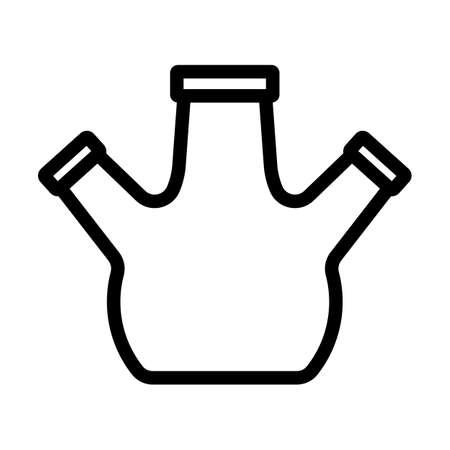 Icon Of Chemistry Round Bottom Flask. Editable Bold Outline Design. Vector Illustration.