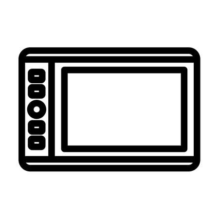 Graphic Tablet Icon. Editable Bold Outline Design. Vector Illustration.